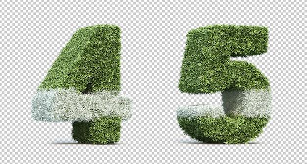 Rendering 3d del campo da gioco in erba numero 4 e numero 5