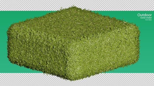 Rendering 3d della disposizione del supporto per erba su una forma a cubo rotondo