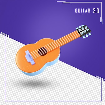 Rendering 3d di chitarra con con una tinta arancione