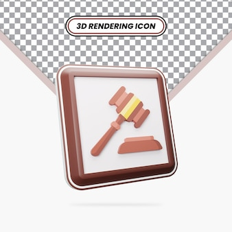 3d rendering hammer of law icon