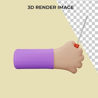 Rendering 3d dello strumento cacciavite che tiene la mano psd premium