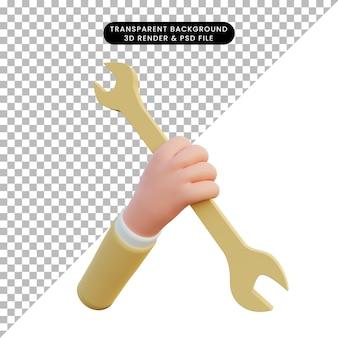 Chiave inglese della holding della mano di rendering 3d