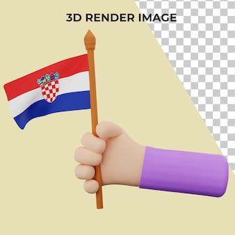 3d rendering mano con il concetto di festa nazionale della croazia