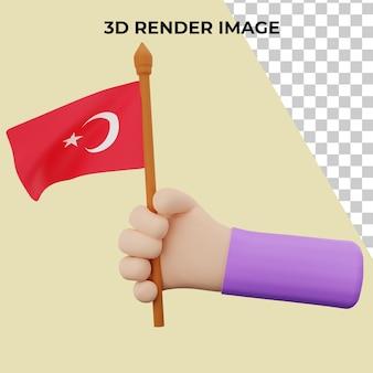 3d rendering mano con il concetto di giornata nazionale della turchia