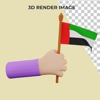 3d rendering a mano con il concetto di festa nazionale degli emirati arabi uniti