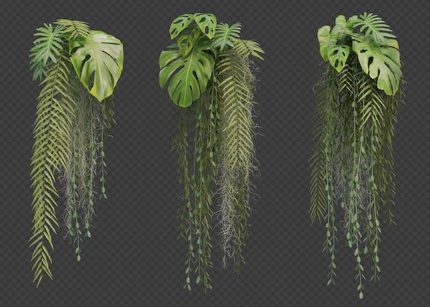 Rendering 3d della collezione di piante pensili