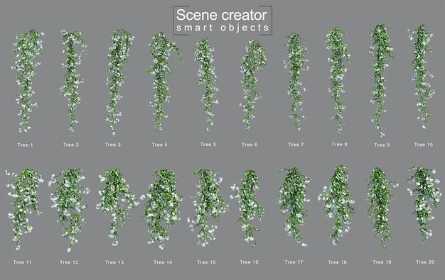 3d rendering di appendere star jasmine creatore di scene