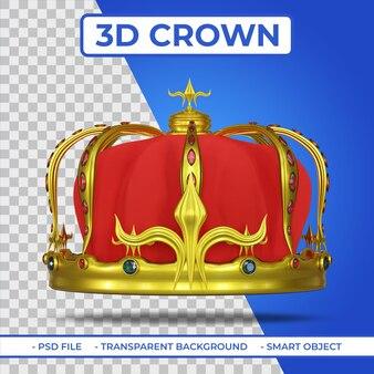 Rendering 3d della corona d'oro reale araldica con gemma