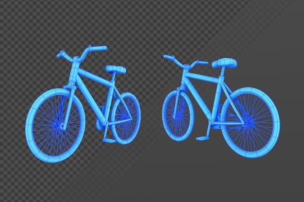 Bicicletta con ologramma di rendering 3d da vari angoli di vista prospettica