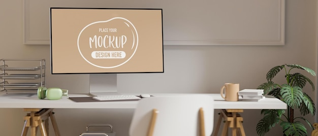 Rendering 3d home office room con mockup di computer