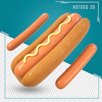 Rendering 3d di un hot dog con senape