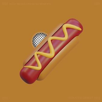 Immagine premium dell'icona del cibo per hot dog 3d renderingd