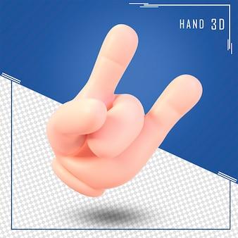 Rendering 3d della mano umana simbolo cool nel segno di roccia