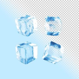 Raccolta di ghiaccio di rendering 3d sullo sfondo trasparente