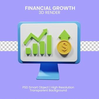 3d rendering icona crescita finanziaria