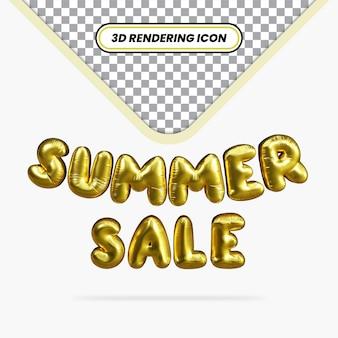 Icona rendering 3d saldi estivi effetto palloncino dorato