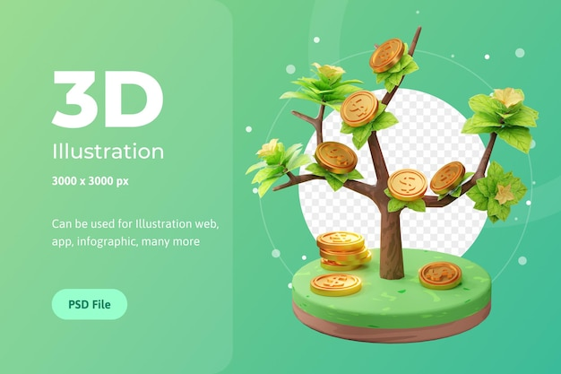 Rendering 3d illustrazione di attività in crescita, con albero e moneta, utilizzata per web, app ecc