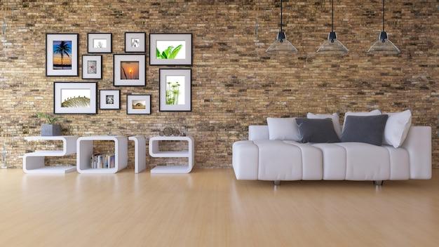 Immagine della rappresentazione 3d della mensola di legno 2019 sul muro di mattoni bianco.