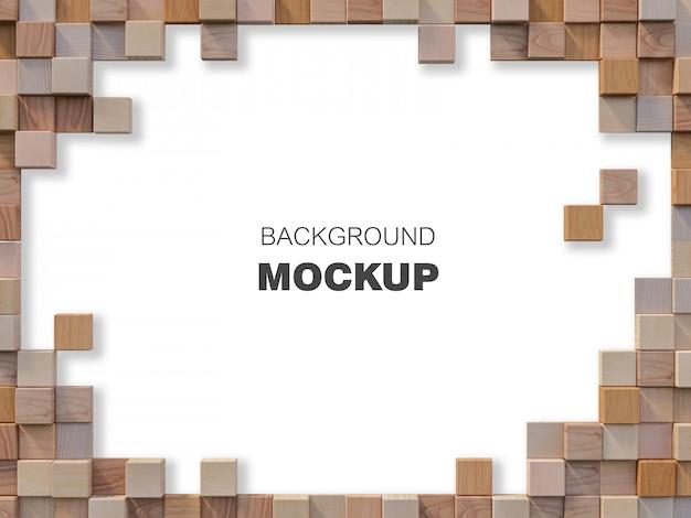 Immagine della rappresentazione 3d della parete di legno cubica
