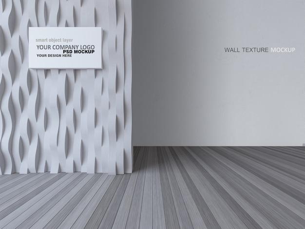 Immagine della rappresentazione 3d di interior design con la parete curva e il muro di cemento del wite
