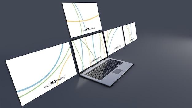 Immagine di rendering 3d del computer portatile su sfondo grigio scuro. mockup dello schermo del laptop