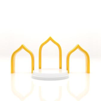Visualizzazione del podio islamico della rappresentazione 3d della rappresentazione realistica di concetto di vendita del prodotto