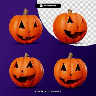 Rendering 3d del concetto di halloween delle zucche jack con angolo diverso isolato