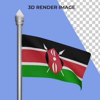 Rendering 3d del concetto di bandiera del kenya giornata nazionale del kenya