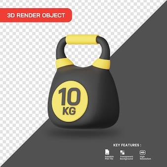 Icona di kettlebell rendering 3d