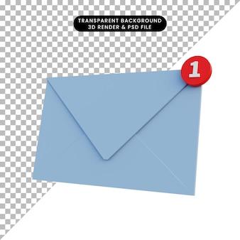 Lettera di rendering 3d con notifica