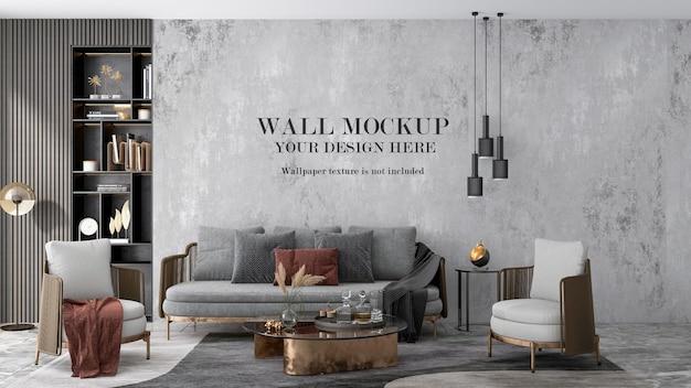 Priorità bassa della parete del soggiorno di rendering 3d Psd Premium