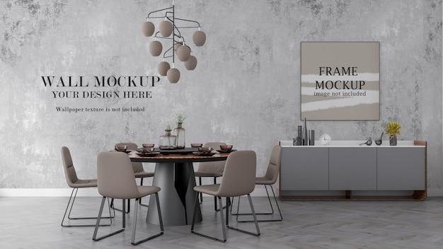 Mockup di cornice per poster e pareti del soggiorno di rendering 3d
