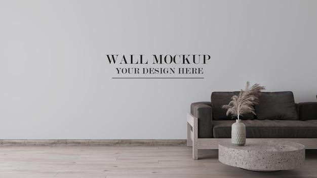 Rendering 3d della parete del soggiorno