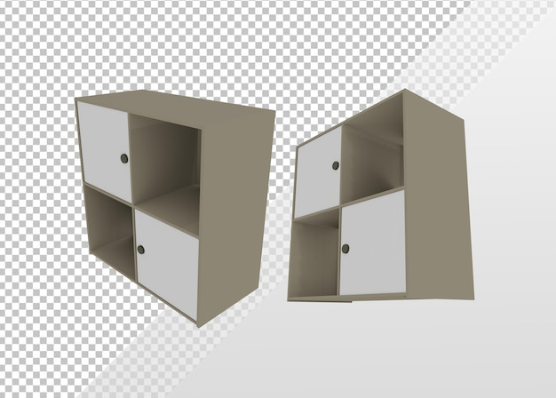 3d che rende le decorazioni della stanza lowpoly da vari angoli di prospettiva di vista
