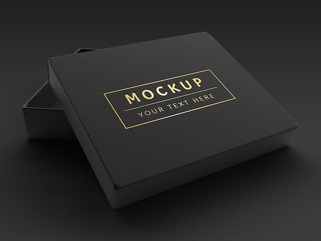 Rendering 3d mockup di scatola in pelle nera di lusso