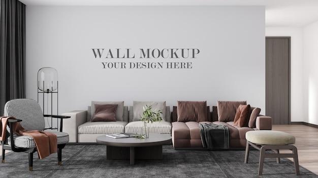 Rendering 3d di lusso mockup della parete del soggiorno