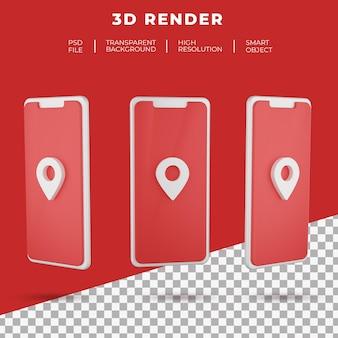 3d rendering mappe logo di smartphone isolato