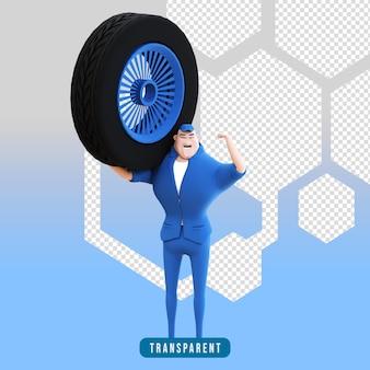 Rendering 3d di personaggi meccanici con pneumatici