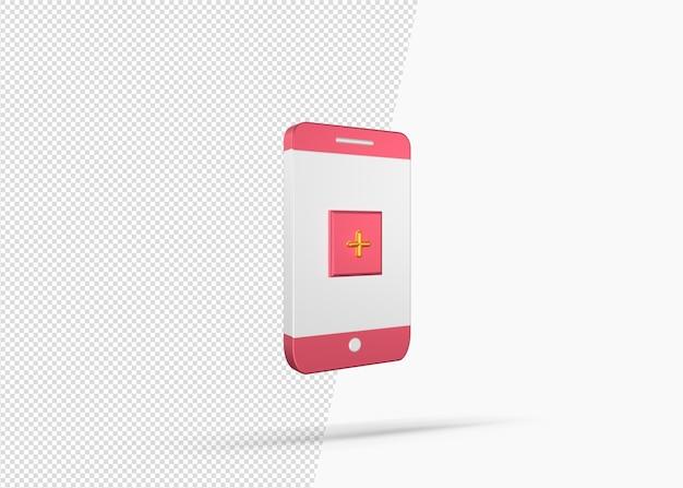 Modello di concetto di app mobile medica di rendering 3d