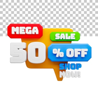 Rendering 3d mega vendita 50% di sconto sul testo