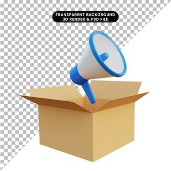 Rendering 3d di un megafono che esce di cartone Psd Premium