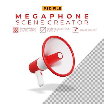 Rendering 3d del megafono per il creatore di scene