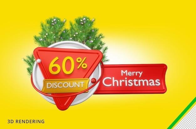 3d rendering buon natale 60 vendita psd premium
