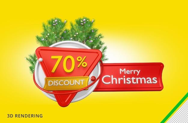 3d rendering buon natale 70 vendita psd premium