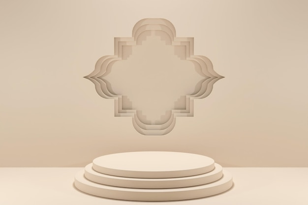 3d rendering minimalis podio islamico display decoration-2
