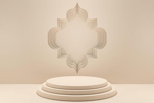 3d rendering minimalis podio decorazione islamica del display