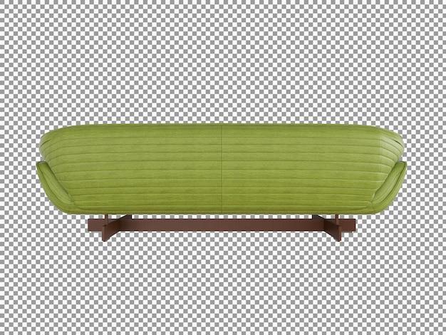 Rendering 3d dell'interno minimalista del divano in pelle isolato