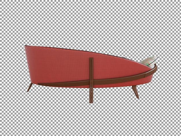 Rendering 3d di divano minimalista con interni in legno isolati