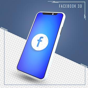 Rendering 3d del cellulare con l'icona di facebook isolata