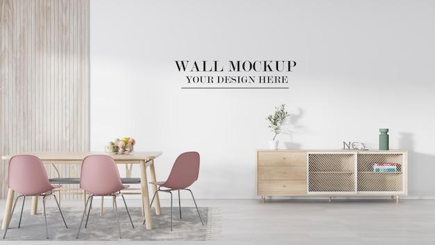 Muro di mockup di rendering 3d nella sala da pranzo scandinava